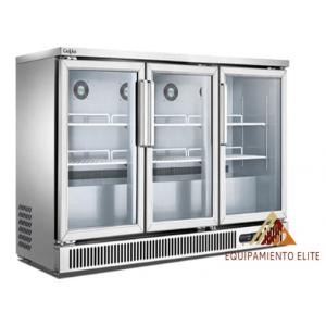 ✅ Migsa BE-SG-380 Refrigerador Back Bar de 3 Puertas de Cristal 🥇