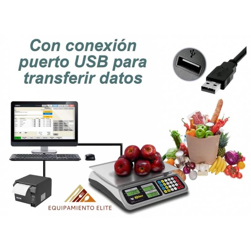 ✅ Rhino BAR-8RS Bascula de Mostrador con Transferencia de Datos vía USB 🥇