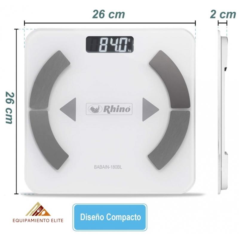 ✅ Rhino BABAIN-180BL Bascula Digital con Bluetooth para el Análisis de Grasa Corporal 🥇